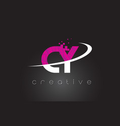 cy c y creative letters design with white pink vector image