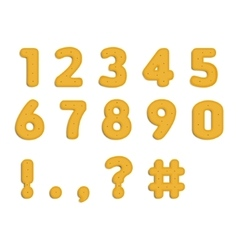 Dotted cookies numbers and symbols vector image