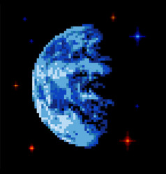 earth pixel art pixelated planet in space vector image