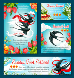 Easter egg hunt banner template of flower and bird vector