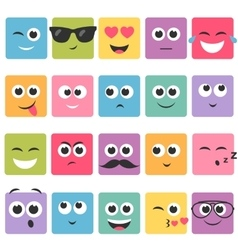 Emotional square colorful faces icon set vector image