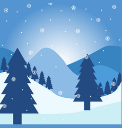 falling snow over winter landscape with monatas vector image