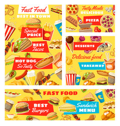 Fast food burgers pizza and hot dogs vector