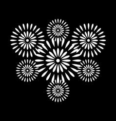 Fireworks white on black background vector image