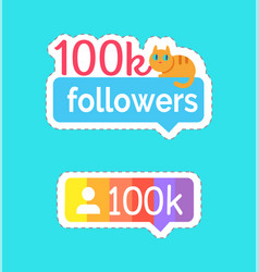 follow and followers kitty on banner set vector image
