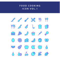 food cooking icon filled outline set vol 1 vector image