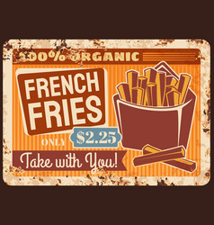 French fries fast food rusty metal plate vector