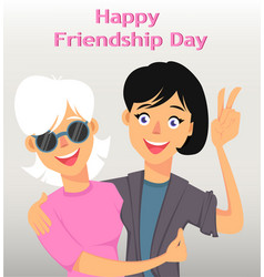 Friends hugging and smiling two female cartoon vector