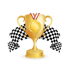 Gold cup medal and checkered racing flag auto vector