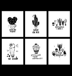 graphic set love cacti cards and lettering vector image