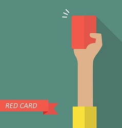 Hand of referee showing red card vector