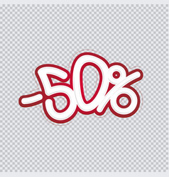 hand writing 50 percent discount sale banner vector image