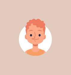 happy cartoon boy portrait - little kid with curly vector image