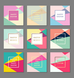 happy easter wishes greeting card set vector image