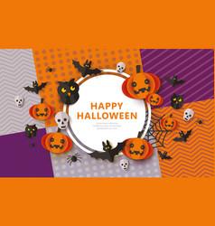 happy halloween - spooky banner with black animals vector image