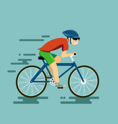 Happy man riding a bike vector