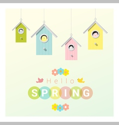 Hello spring background with little birds in vector