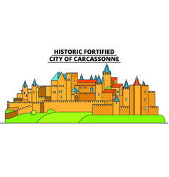 historic fortified - city of carcassonne lin vector image