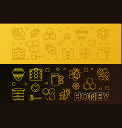 honey colored linear horizontal banners set vector image