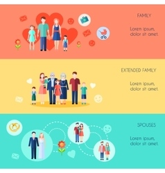 Horizontal Banners With Families vector image