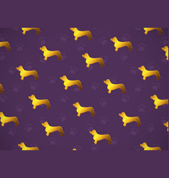 Horizontal card pattern with yellow gold dogs vector