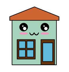 House exterior kawaii character vector