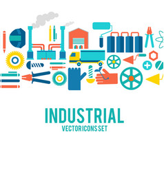 Industrial colored decorative icons set vector