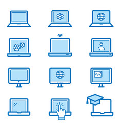 laptop flat line icon set vector image