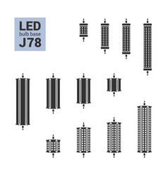 Led light j78 bulbs silhouette icon set vector