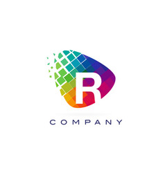 Letter r colourful rainbow logo design vector