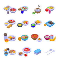 Lunch icons set isometric style vector