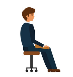 man sitting at office chair cartoon flat vector image