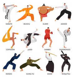 Martial arts fighters flat set vector