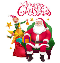 merry christmas greeting card santa claus is vector image