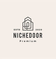 niche door house hipster vintage logo icon vector image