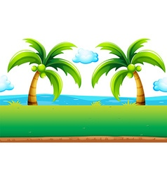 Ocean view with coconut trees vector
