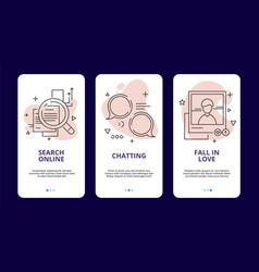 online dating app template linear social media vector image