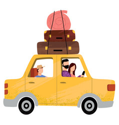 people sitting in car family going on vacation vector image