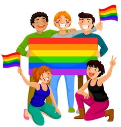 people with rainbow flags vector image