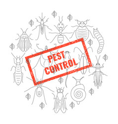 Pest control insect stamp vector