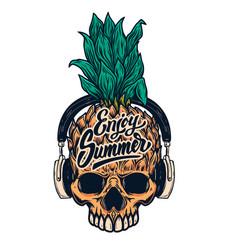Pineapple skull with headphones design element vector