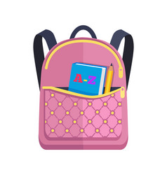 Pink rucksack with big pocket with abc book pencil vector
