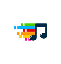 Pixel art music logo icon design vector