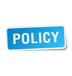 Policy blue square sticker isolated on white vector