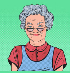Pop art happy senior woman smiling vector
