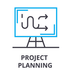 project planning thin line icon sign symbol vector image