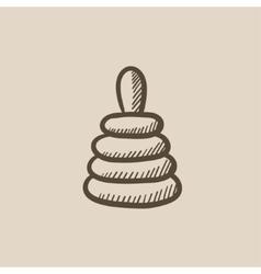 Pyramid toy sketch icon vector