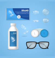 Realistic 3d detailed optometry accessory set vector