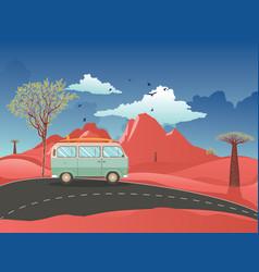 red desert and travel van vector image