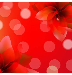 Red Poster With Flowers vector image